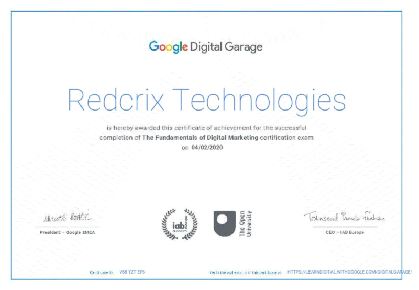certificate of google digital garage